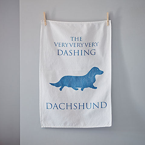 Long Haired Dachshund Tea towel