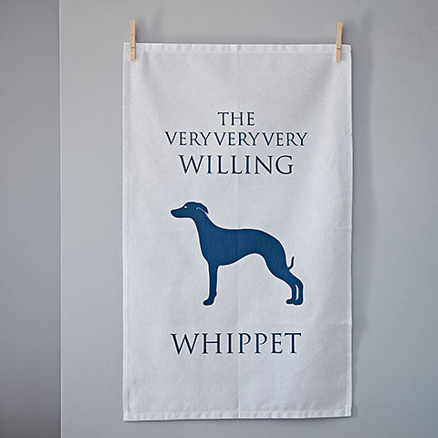 The Very Very Very Willing Whippet Tea Towel by Home and Hound