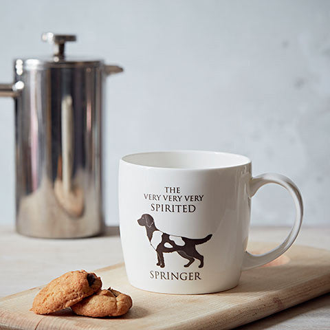 Spirited Springer Fine Bone China Mug in a lifestyle setting - home and hound