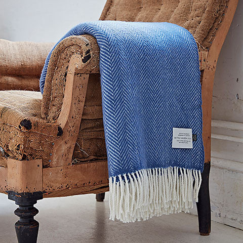 Blue Cashmere Merino Throw