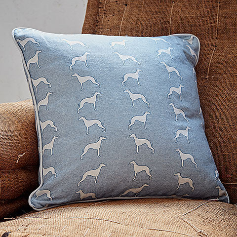 blue whippet square cushion on a chair - bottle green homes