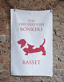 Bonkers Basset Tea Towel - Bottle Green Homes  - 1