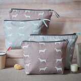 Group picture of the four different border terrier washbags