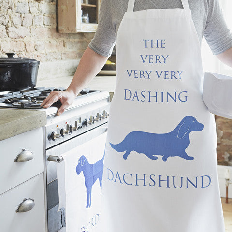 dashing dachshund apron by bottlegreenhomes