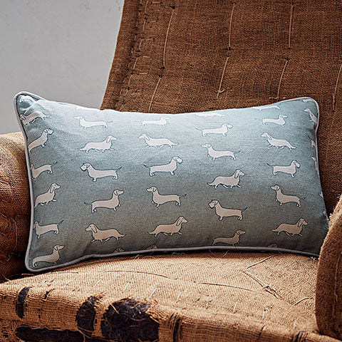 dachshund print green rectangle cushion - bottle green homes