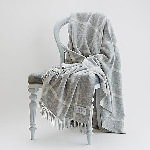 Grey Windowpane Throw on a chair - Bottle Green Homes