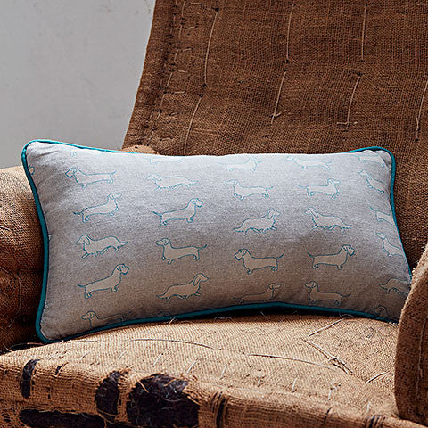 grey dachshund rectangle cushion - bottlegreenhomes