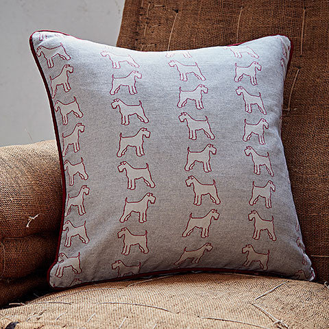 grey schnauzer fabric cushion - bottlegreenhomes