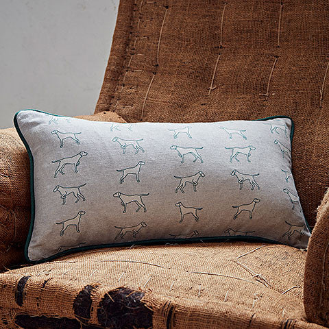 grey with green outline pointing dogs rectangle cushion by bottlegreenhomes