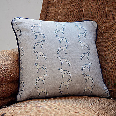 square grey whippet cushion by bottlegreenhomes