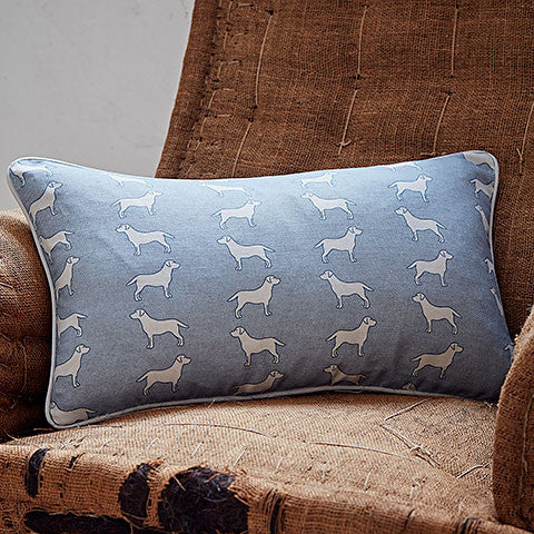 rectangle blue labrador cushion - bottlegreenhomes