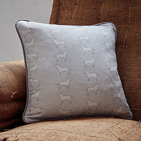 grey square labrador cushion by bottle green homes