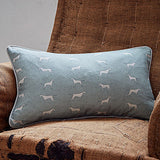 rectangle green pointing dogs fabric cushion - bottlegreenhomes