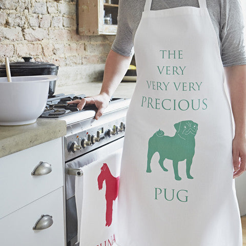 Precious pug green apron by bottlegreenhomes