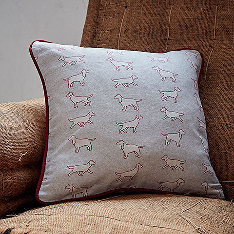 square spaniel fabric cushion by bottlegreenhomes