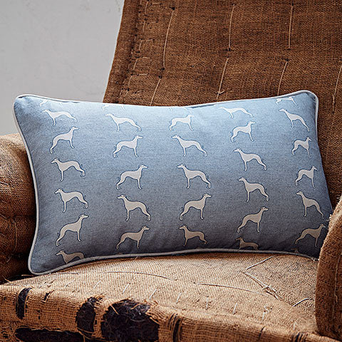 blue whippet long cushion - bottlegreenhomes