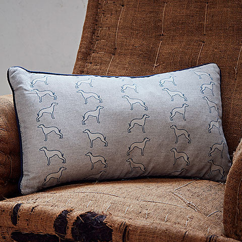 rectangle grey whippet cushion by bottlegreenhomes