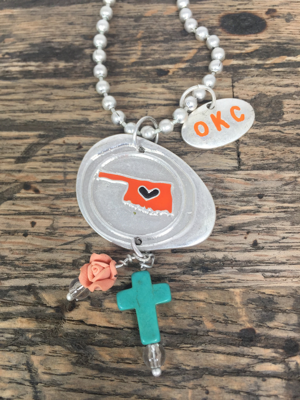 Small Oklahoma Stamp in Red & Orange with Charms Necklaces