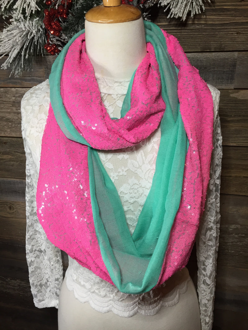 Mint and Pink Sequin Infinity Scarf