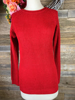 Red Waffle Long Sleeve Top