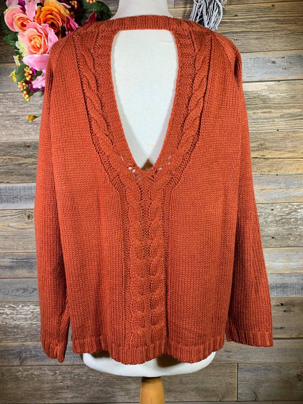 Orange Sweater With Open Back