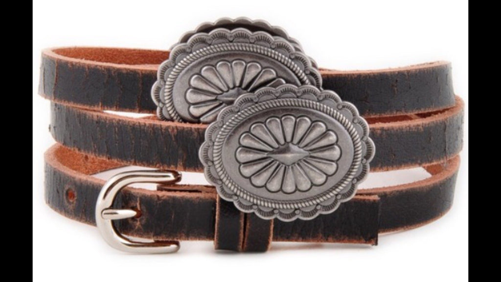"1/2"" Skinny Leather Concho Belt"