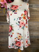 Cream Floral Cold Shoulder Top