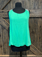 Green Embroidered Tank Top