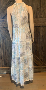 White Maxi Dress with Blue & Green Detail