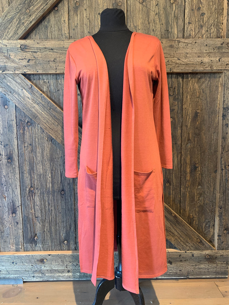 Terra-cotta French Terry Long Sleeve Duster