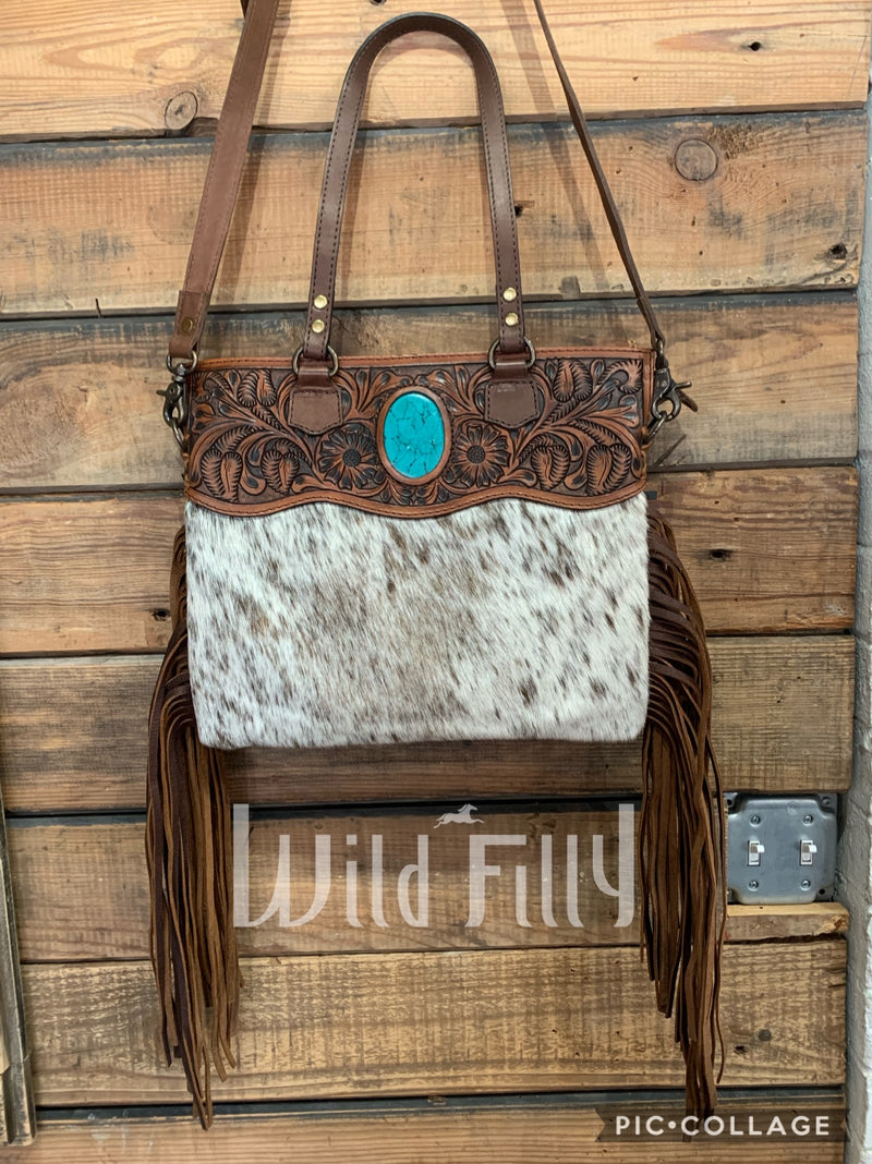 Stone Leather Fringe Purse