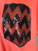Chevron Coral Pocket Top