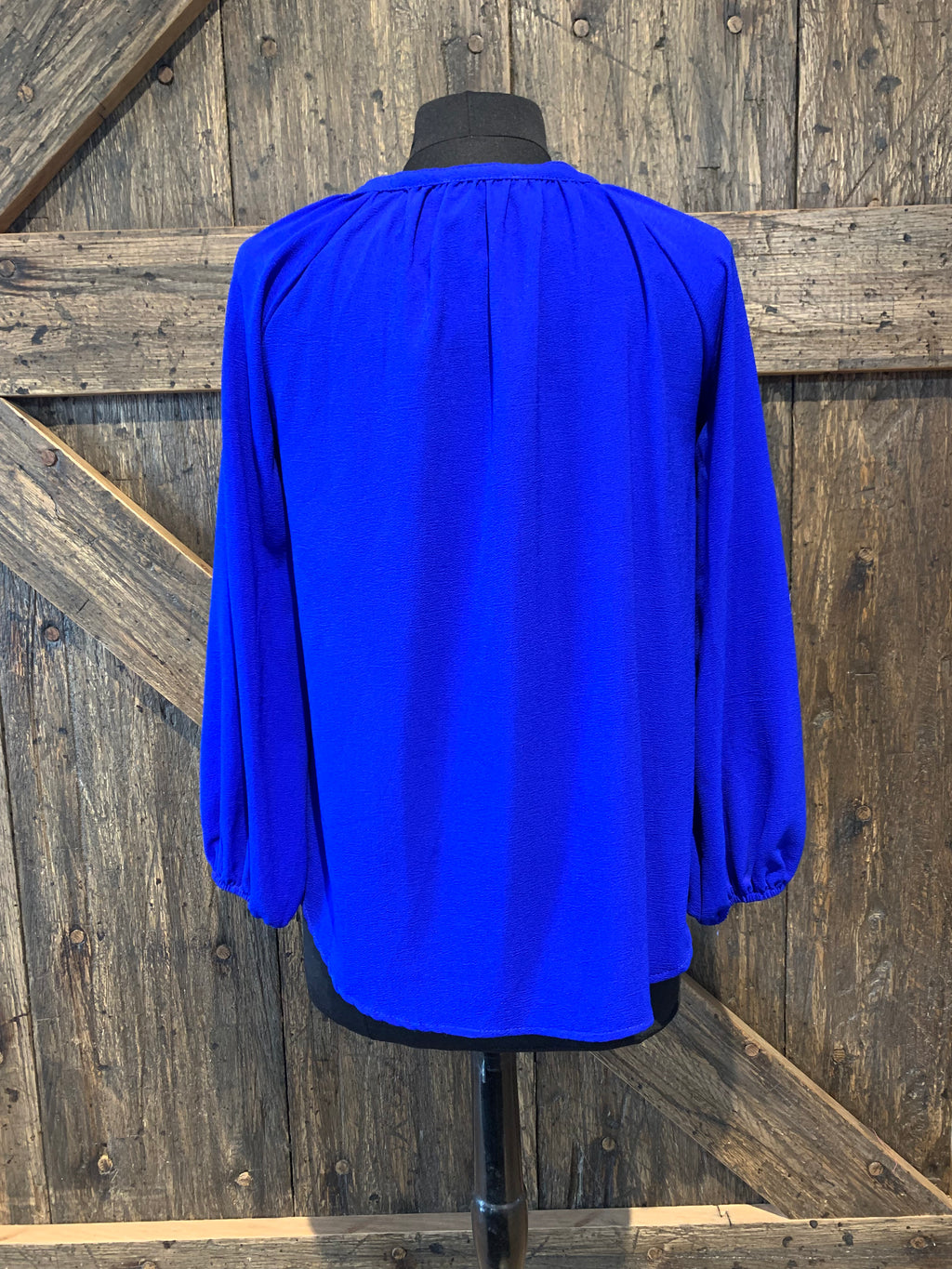 Blue Button Detail Top