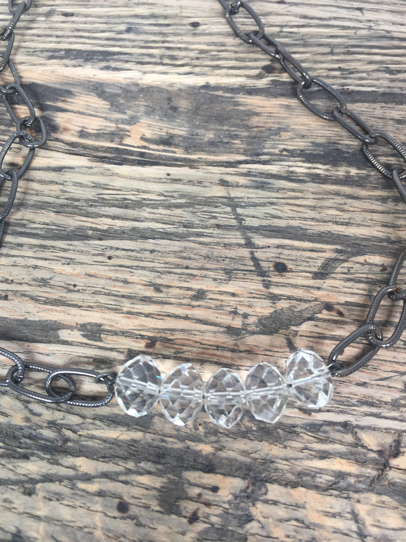 Clear Glass Bead and Chain Necklace