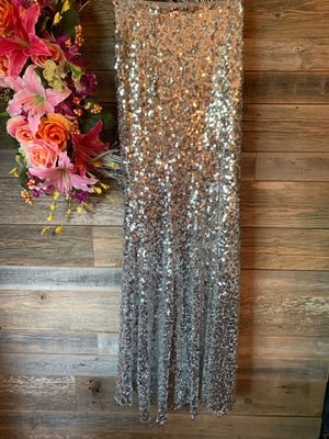 Sequin Maxi Skirt with Slit Silver