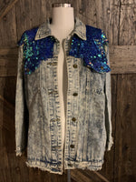 Distressed Denim Sequin Jean Jacket