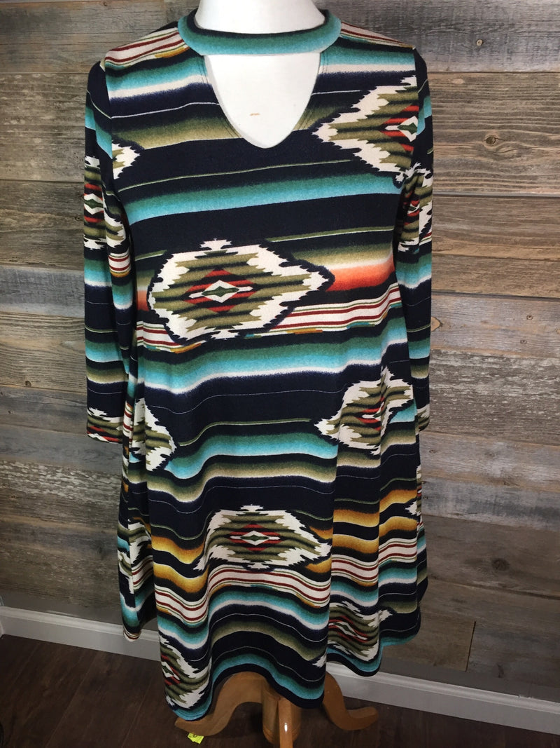 Aztec Choker Dress with Pockets