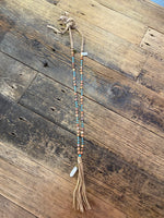 Long Leather Beaded Necklace