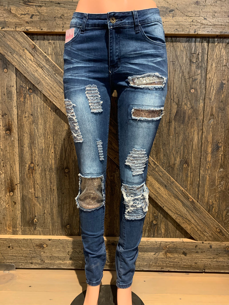 Sequin Patch Skinnies