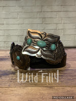 Brown Round Leather Concho Belt