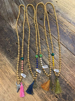 Wood Beaded Tassel with Charm Necklace