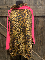 Hot Pink Leopard Hoodie with Cowl Neckline