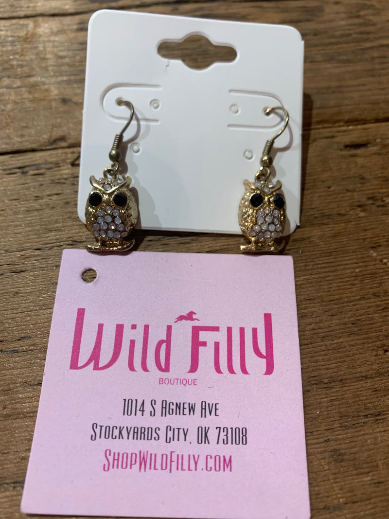 Dangle Gold Owl Earrings