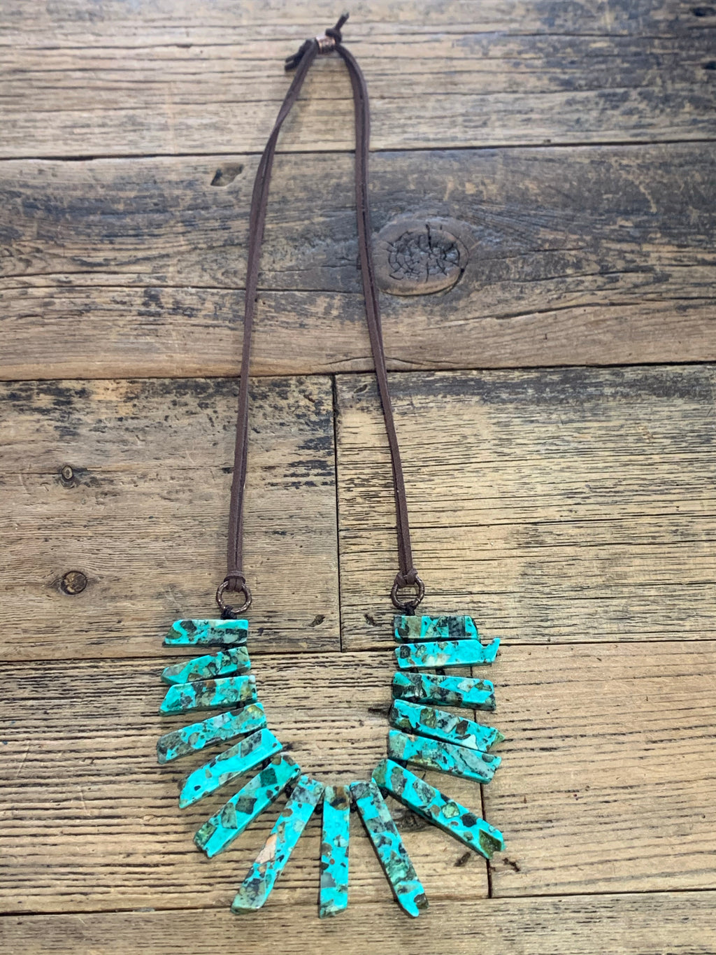 Turquoise (Faux) and Leather Necklace
