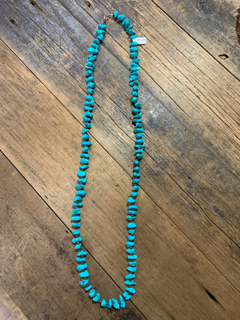 Chunky Turquoise Beaded Necklace (Faux)