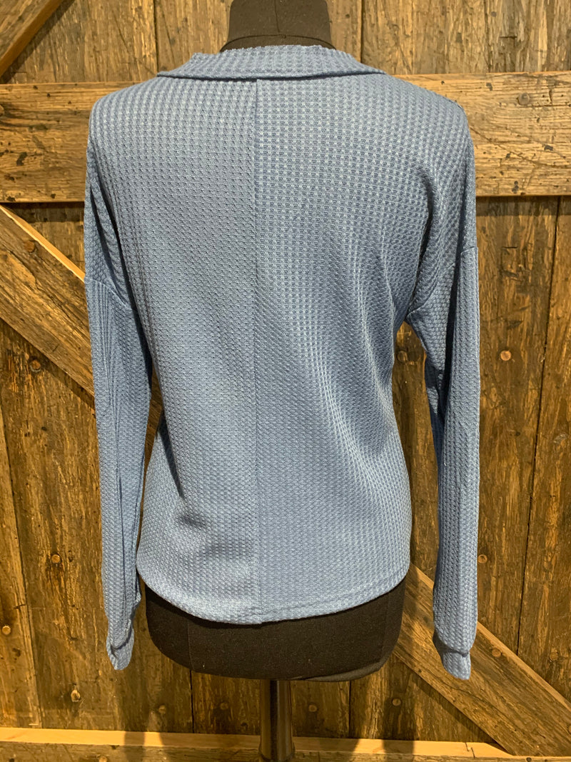 Blue Waffle Knitted Top