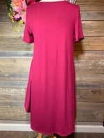 Burgundy A line Pocket Dress with Pockets