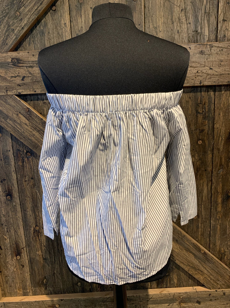 Pinstripe Woven Off the Shoulder Top