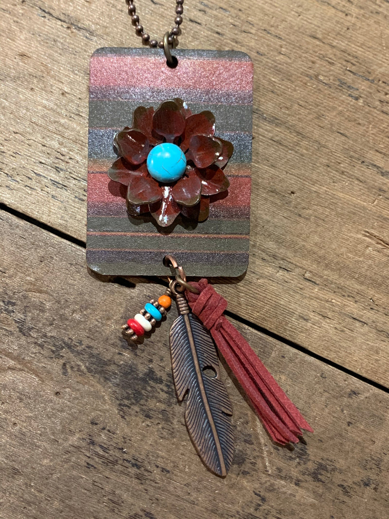 Leather Serape Square with Metal Flower Necklace