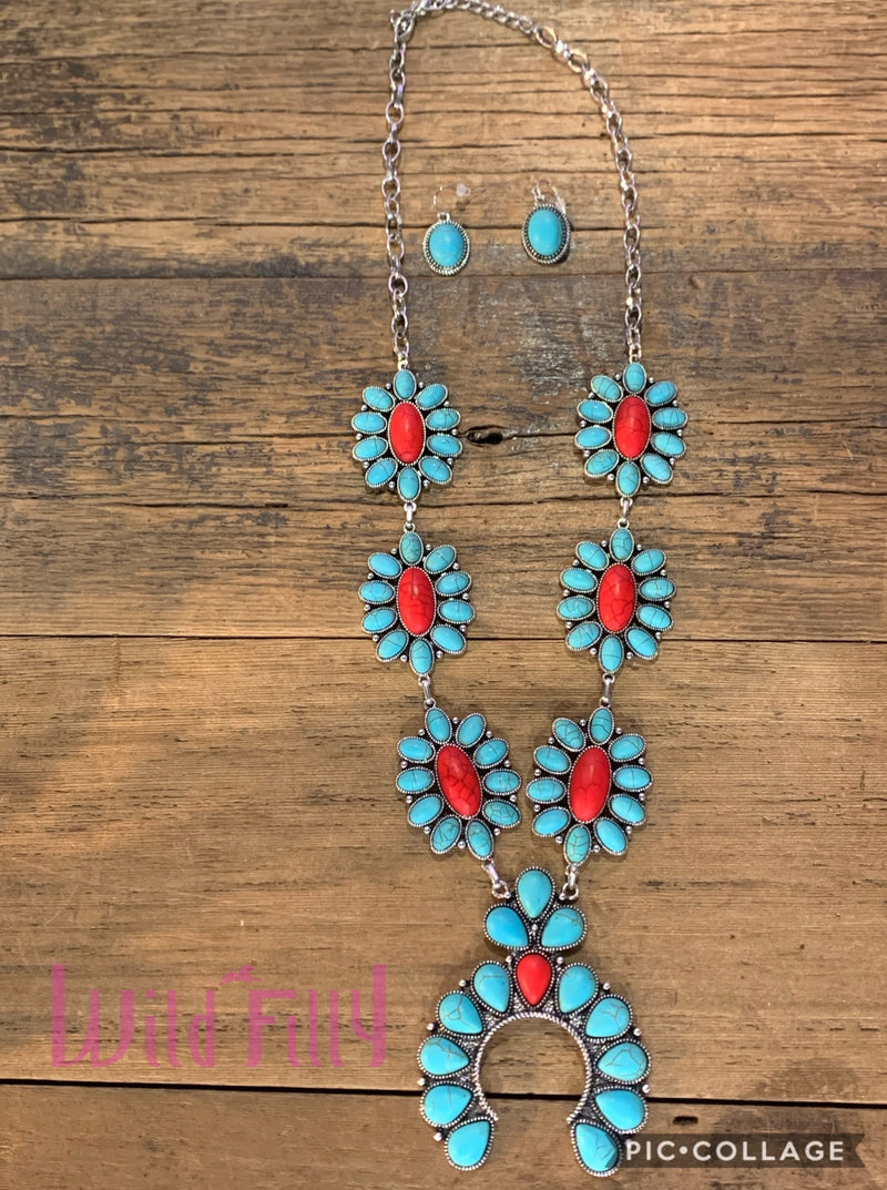 Turquoise and Red Squash Necklace